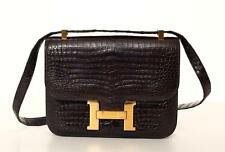 HERMES *VINTAGE* Dark Brown CONSTANCE 23 Crocodile Shoulder Flap Satchel Bag