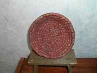 "Primitive Distressed Burgundy Red Woven Bowl Basket  Rim 5 1/2""  H 2"""