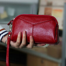 Genuine Leather Womens Wristlet Clutch Handbag Purse Lady's Red Wallet Pocket
