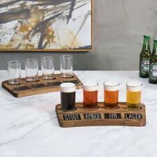 Brown Wood 4-Glass Beer Flight Sampler Serving Trays w/ Chalkboard Labels, 2pcs