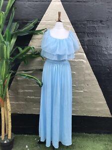 Original Vintage 1970s Light Blue Maxi Dress With Sheer Kapelet