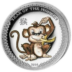 Palau 2016 5$ Year of the Monkey 1 Oz Silver Proof Coin Coloured High Relief