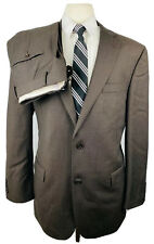 Austin Reed Mens 42R Brown Stripe Wool 2 Piece Suit With Dress Pants 34Wx29L