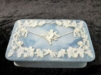 Vtg. Genuine Incolay Stone Blue & White Cherub/Angel Hinged Jewelry Trinket Box