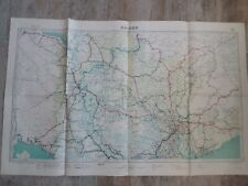 Ancienne carte COCHINCHINE 1939/réseau routier SAIGON/Indochine 123x77