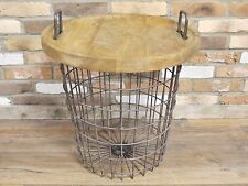 INDUSTRIAL ANTIQUE STYLE COUNTRY WOOD METAL BASKET SIDE COFFEE TABLE (DX4772)