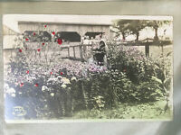 Vintage 1930 Farm Photograph Pennsylvania PA printed on a post card flowers