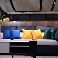 Velvet Throw Pillow Cases Cushion Covers with Hidden Zipper-60x60cm-White