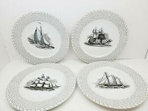 4 Vintage C S Brown Dinner Plates With Sailboat Design And Coastal Black Edge