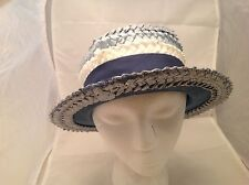 Vintage Ladies Hat Woven Tri Color Blue and White Blue Grosgrain Ribbon Bow