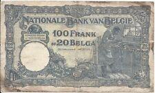 "100 francs = 20 Belgas type ""1919"" serie BLEU 22-janv-31"
