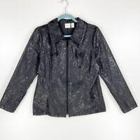 Chicos Weekends Womens M Blazer Jacket Black Metallic Paisley Zip Up Stretch