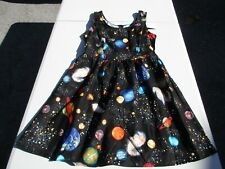 Retrolicious Black Planets Fit & Flare Dress Juniors Size Small NWT