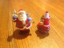 Santa Claus Figural Hinged Trinket Boxes  x2 -  Porcelain, Enamel on Metal +