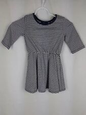Gap Kids NEW Girl's sz XS Blue White Striped 3/4 Sleeve Scoop Neck Shirt
