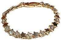 Damen Stern Armband Gold Zirkon Klar Kristall Ketten Tennis Armreif Glieder Hand
