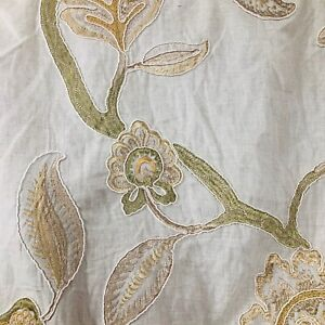 Beige Green Embroidered Floral Pattern Curtain Fabric Material 137cm wide BR122