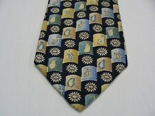 """LANDS' END - FLORAL GEOMETRIC - LONG 62"""" - MADE IN USA -100% SILK NECK TIE!"""