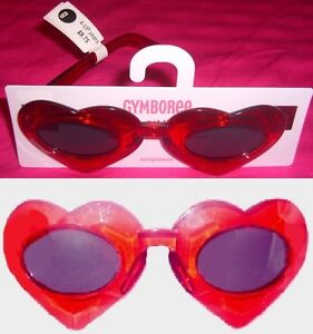 NEW GYMBOREE Glasses Sunglasses Girls 4 years and up RED Transparent HEART
