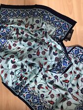Ladies Womens Iznik Design Turquoise Pure 100% Silk Shawl Scarf Rectangle Scarf