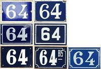 Old blue French house number 64 door gate wall fence street sign plate plaque
