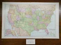 "Vintage 1902 UNITED STATES of AMERICA Map 22""x14"" ~ Old Antique Original USA"