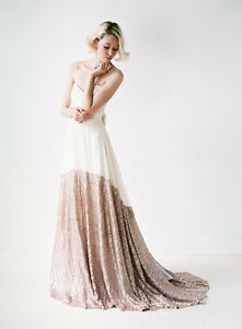 Modern Chiffon and Rose Gold Sequins wedding dress, UK tailor made, all sizes