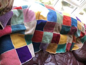 Knitted Patchwork Throw Handmade Retro Woolen