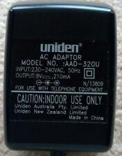 Uniden 9V 210mA Power Adaptor AAD-320U lightly used