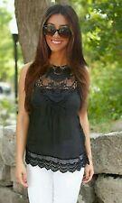Women's Sleeveless Chiffon Fitted Tops & Shirts