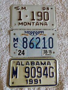 Set 3 Montana Mississippi Alabama Motorcycle Genuine PreOwned USA License Plates