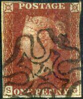 LONDON NUMBER 12 Maltese Cross 1843 1d Plate 37 (SG) c£350.00