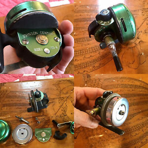 Early Vintage JOHNSON CENTURY MODEL 100A SPINCAST FISHING REEL MADE IN USA