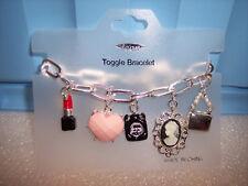 "Imagine It Silvertone Assorted ""Girl's Stuff"" 7.25"" Toggle Bracelet~ New w/ Tag"