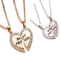 Fashion Bff Friendship Heart Tone Rhinestone 2 Pendants Best Friend Necklace 2PC