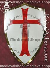 Medieval Knight Templar Crusader Metal Shield Armour with Red Cross Symbo MS1290