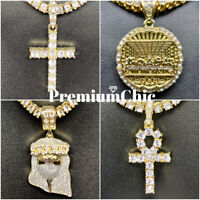 Jesus Cross ANKH Last Supper Pendant Tennis Chain Necklace Mens Hip Hop Jewelry