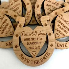 Save The Date Cards Wooden Wedding Magnets Personalised Fridge Rustic Heart Luck