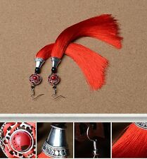 Chinese Red Tassel & Red Stone Earring