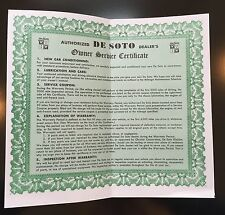 1937 DeSoto Service Owner Certificate Policy - Reproduction Service Manual