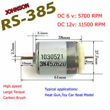 JOHNSON RS385 DC 6v~18v 12v High speed Large Torque DC Motor Double Shaft