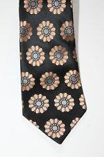 Croft & Barrow Mens Neck Tie Black Salmon Silk Floral Classic Length & Width