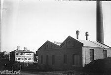 ANTIQUE NEGATIVE GLASS Princess Bridge Hotel & Carlton Breweries Melbourne 1900