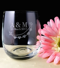 Personalised Wedding Favours Engraved Crystal Stemless Wine Glass  11 Oz(315 ml)