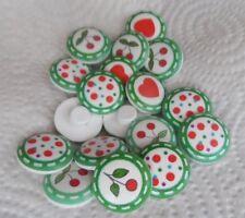 10 Bottoni in legno Tondi Cuori Ciliegie Pois 20mm con attacco ad anello