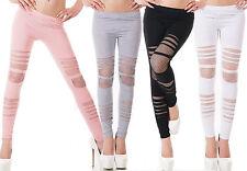 leggings donna tagli e rete pantalone misto cotone 4 colori taglia unica nuovo