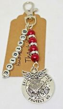 Personalised St Christopher & Guardian Angel Keyring, New Driver gift, talisman