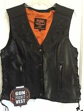 MILWAUKEE LEATHER Women's Black Vest w/Lace up Sides XL *NWT*