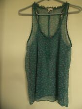 American Eagle AEO TANK ~Size 2 ~Green Floral Sheer Cami Ruffle Blouse