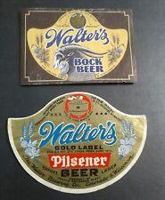 New listing Lot of Two Vintage Irtp Beer Label/Walter Brewing Co./Bock/Pilsener